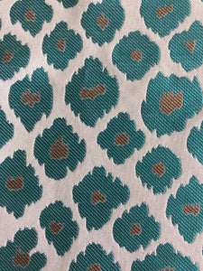 Extinct Animal Pattern Turquoise Gray Silver Upholstery Drapery Fabric / Generosity