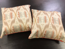 "Load image into Gallery viewer, 19"" x 19"" Handmade Beige Aqua Blue Coral Taupe Ikat Pillow Cover"
