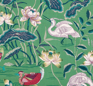 Schumacher Lotus Garden Fabric 172935 / Jade