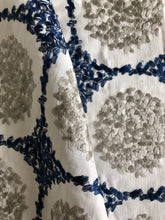 Load image into Gallery viewer, Embroidered Navy Blue Beige Mosaic Linen Blend Drapery Fabric / Baltic