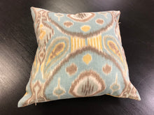 "Load image into Gallery viewer, 19"" x 19"" Handmade Blue Yellow Gray Ikat Linen Cotton Pillow Cover"