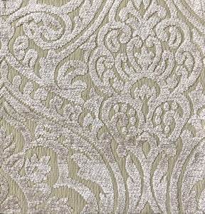 Amalfi Chenille Beige Neutral Damask Upholstery Fabric / Fawn