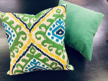 "Load image into Gallery viewer, 19"" x 19"" Handmade Blue Yellow Green Ikat Linen Cotton Pillow Cover"