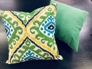 "19"" x 19"" Handmade Blue Yellow Green Ikat Linen Cotton Pillow Cover"