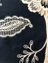 Load image into Gallery viewer, Hampton Court Embroidered Black and White Jacobean Floral Linen Blend Fabric / Onyx