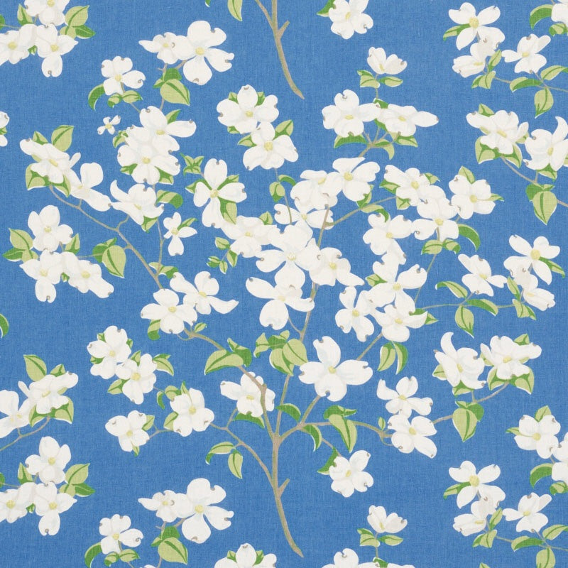 Schumacher Blooming Branch Upholstery Drapery Fabric / Blue