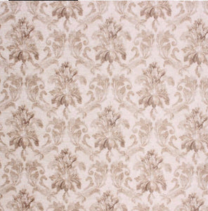 Chartwell Damask French Beige Neutral Cream Velvet Upholstery Drapery Fabric / Satinwood
