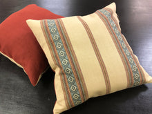 "Load image into Gallery viewer, 19"" x 19"" Handmade Southwestern Belgian Linen Rusty Red Blue Beige Pillow Cover"