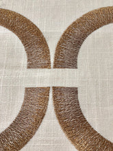 Load image into Gallery viewer, Introspective Embroidered Brown Geometric Cotton Linen Drapery Fabric / Chestnut