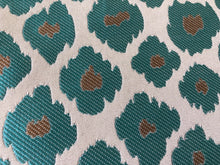 Load image into Gallery viewer, Extinct Animal Pattern Turquoise Gray Silver Upholstery Drapery Fabric / Generosity