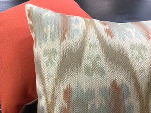 "19"" x 19"" Handmade Beige Aqua Blue Coral Taupe Ikat Pillow Cover"