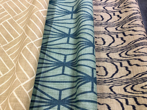 Plantation LuLu Dk White Gold Kelly Wreastler Groundworks Agate Slate Katana Teal Linen Fabric