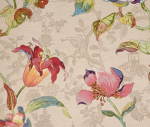 Linen Cotton Floral Chinoiserie Asian Drapery Upholstery Fabric / A0332/14