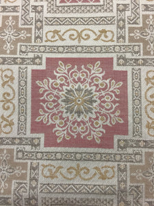 "Vintage Moroccan style 54"" wide cotton vintage almond pink and beige fabric Moorish pattern"