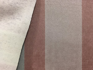 Vintage Velour stripes pattern upholstery fabric in Almond Pink and light grey