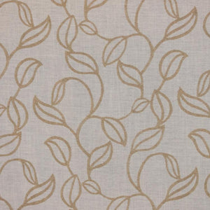 Embroidered Botanical Leaves Drapery Fabric Beige Cream Brown Green / RMIL13