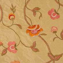 Load image into Gallery viewer, Embroidered Silk Floral Drapery Fabric / Gold / U204