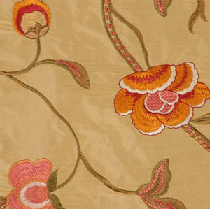 Embroidered Silk Floral Drapery Fabric / Gold / U204