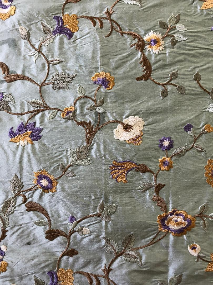 Embroidered Silk Floral Drapery Fabric Seafoam / U236