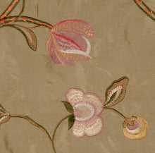 Load image into Gallery viewer, Embroidered Silk Floral Drapery Fabric / Sage / U204