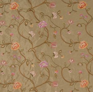 Embroidered Silk Floral Drapery Fabric / Sage / U204