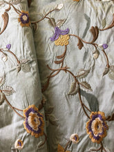 Load image into Gallery viewer, Embroidered Silk Floral Drapery Fabric Seafoam / U236