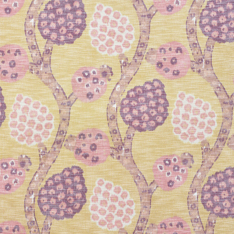 Schumacher Annabel Warp Print Fabric / Gold