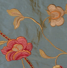 Load image into Gallery viewer, Embroidered Silk Floral Drapery Fabric / Steel Blue / U204