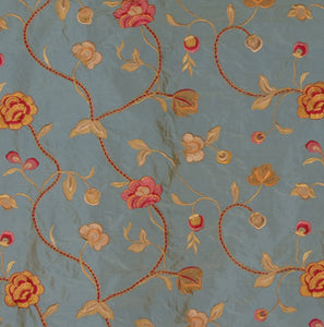 Embroidered Silk Floral Drapery Fabric / Steel Blue / U204