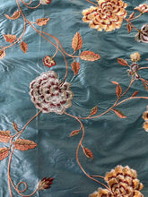 Load image into Gallery viewer, Embroidered Silk Floral Drapery Fabric Teal / U222