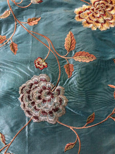 Embroidered Silk Floral Drapery Fabric Teal / U222