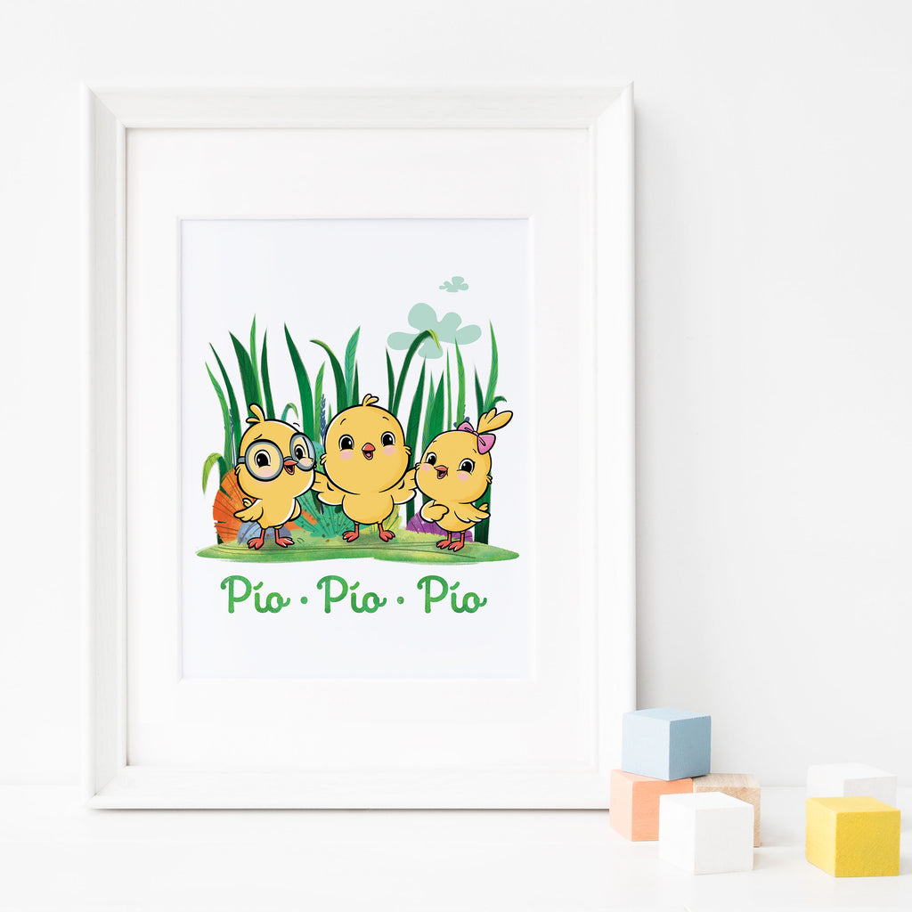 Little Chickies: Three Chicks Among Tall Green Grass Poster