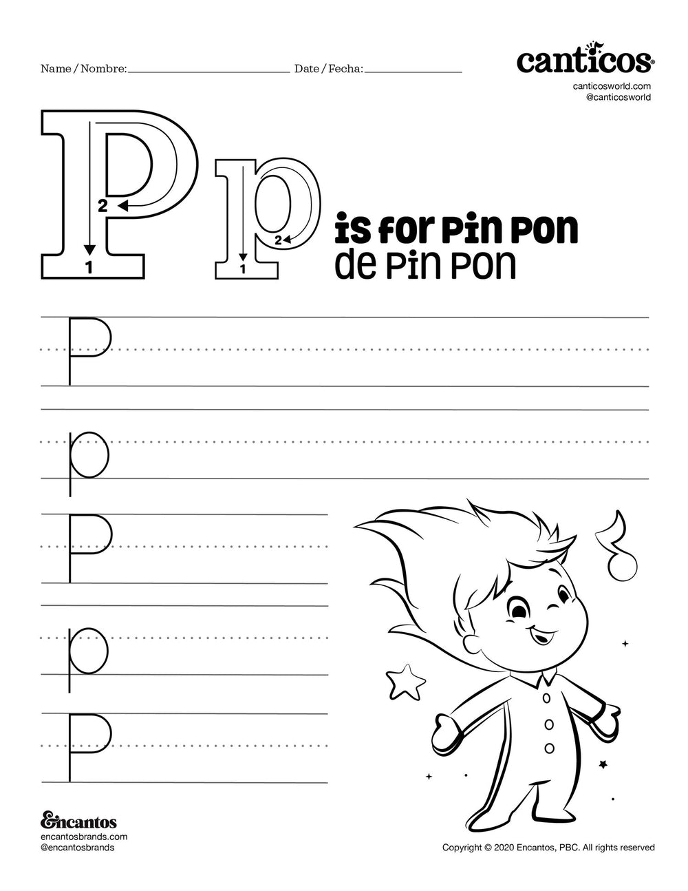 Letter P for Pin Pon - Free Activity Sheet