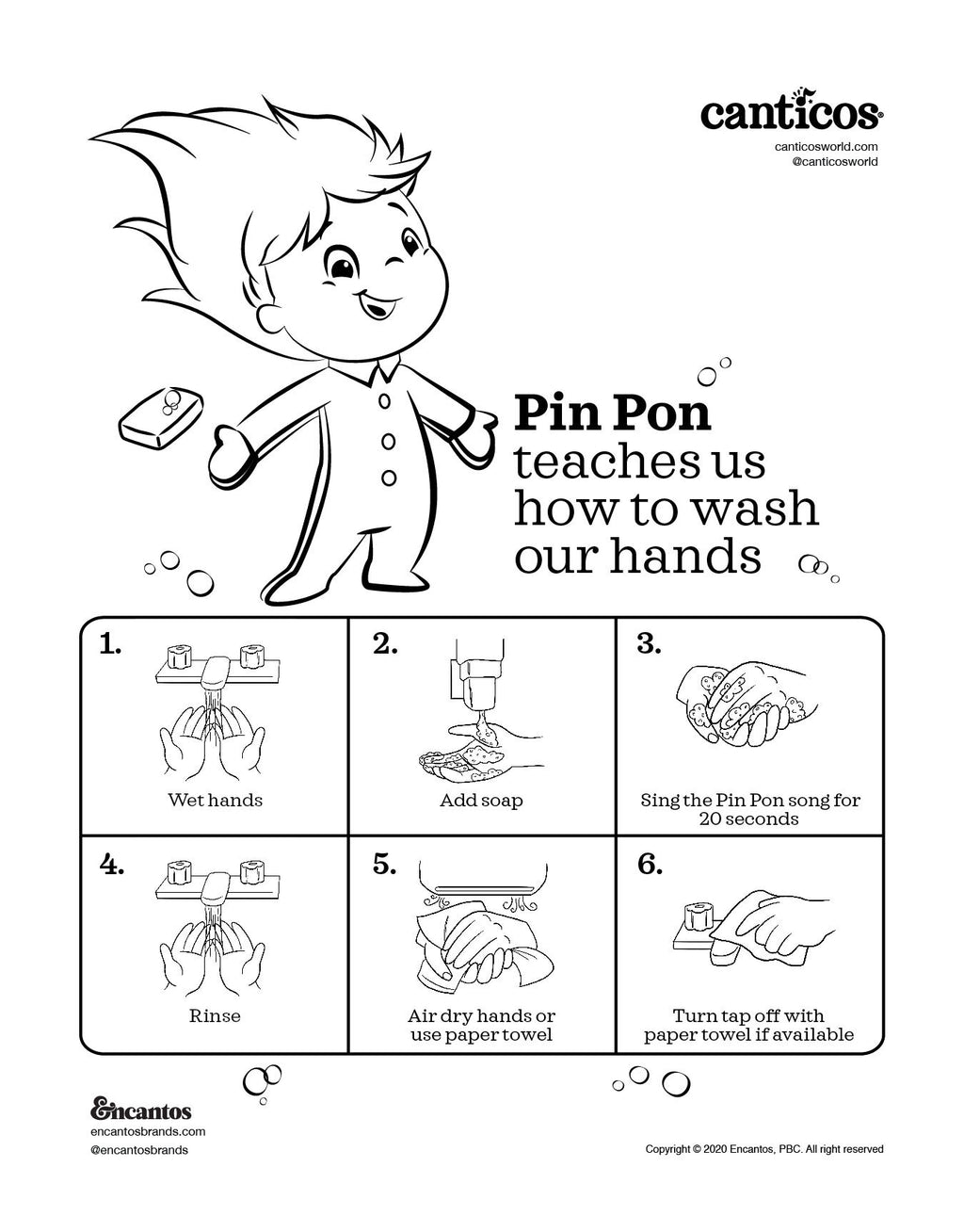 Printable Pin Pon Wash your hands Free Activity Sheet