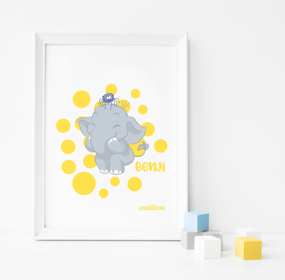 Benji Yellow Dots Poster Nursery Art