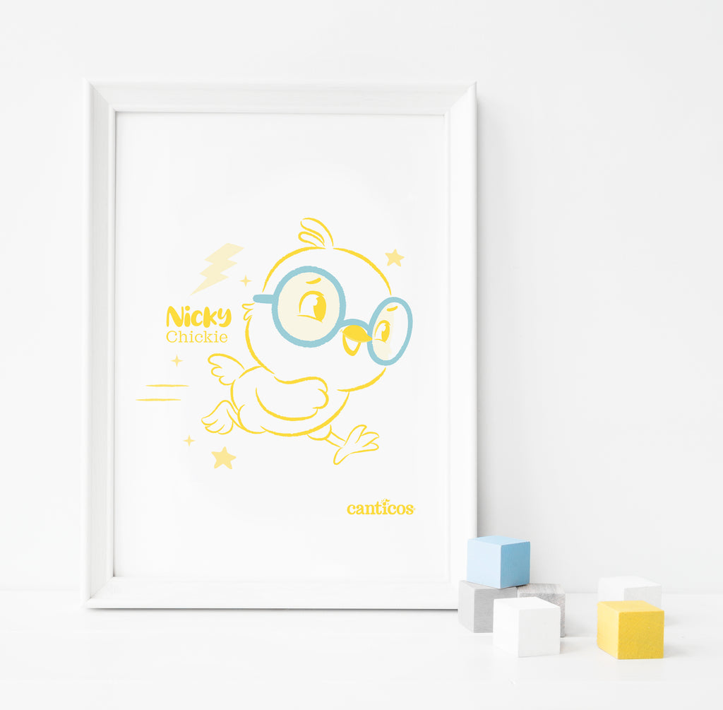Nicky Chicky Yellow Poster Nursery Art