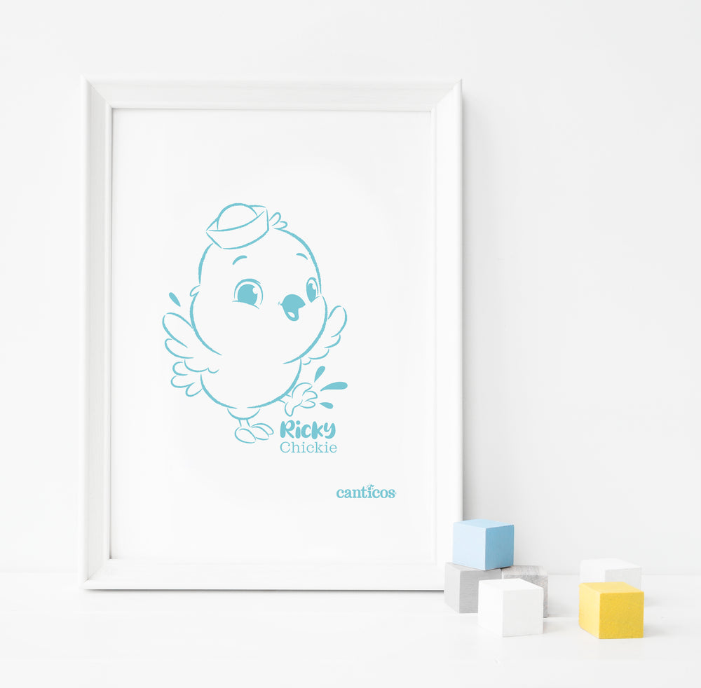 Ricky Chickie Blue Poster Nursery Art