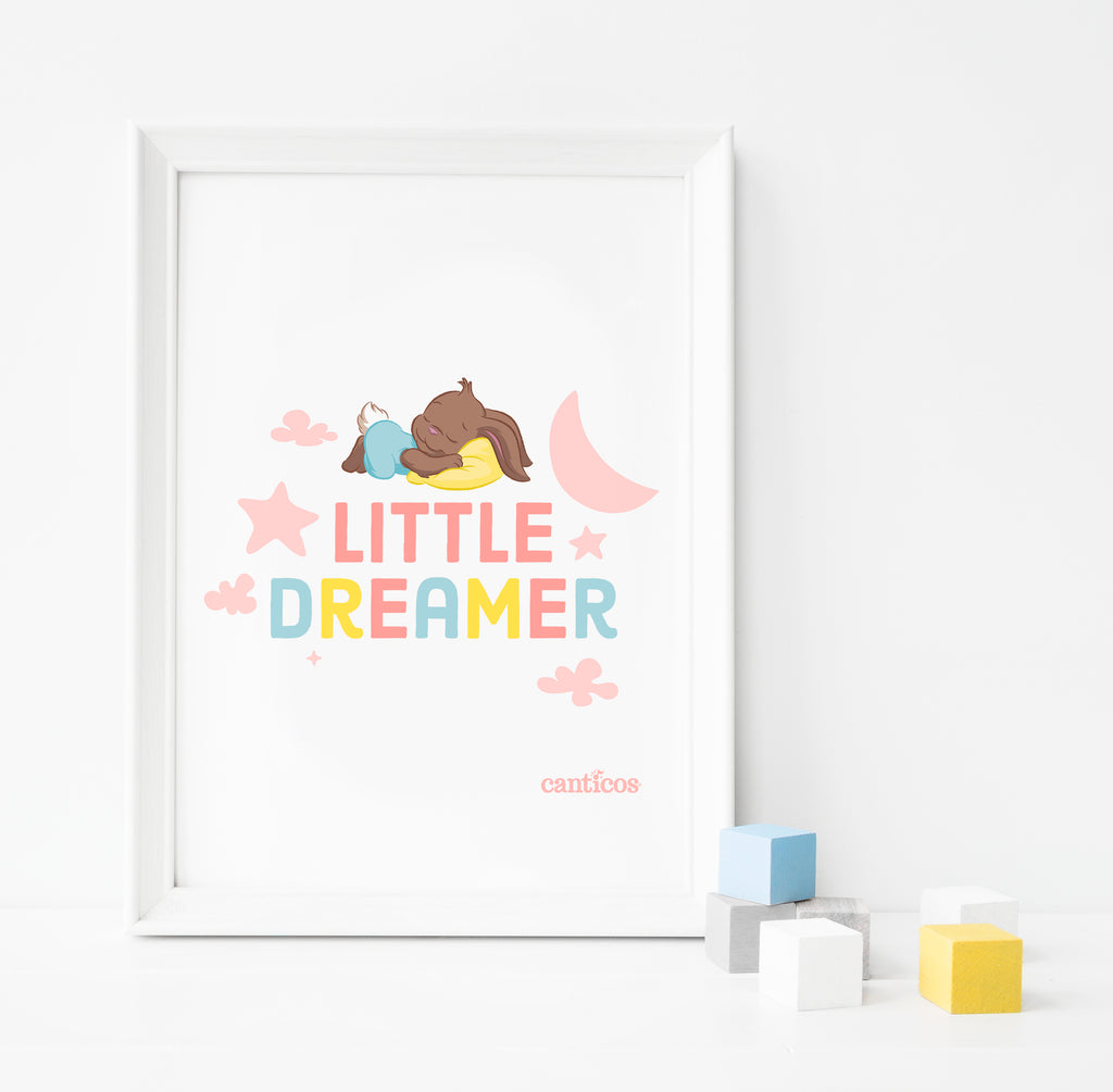 Sammy Little Dreamer Pink Poster Nursery Art