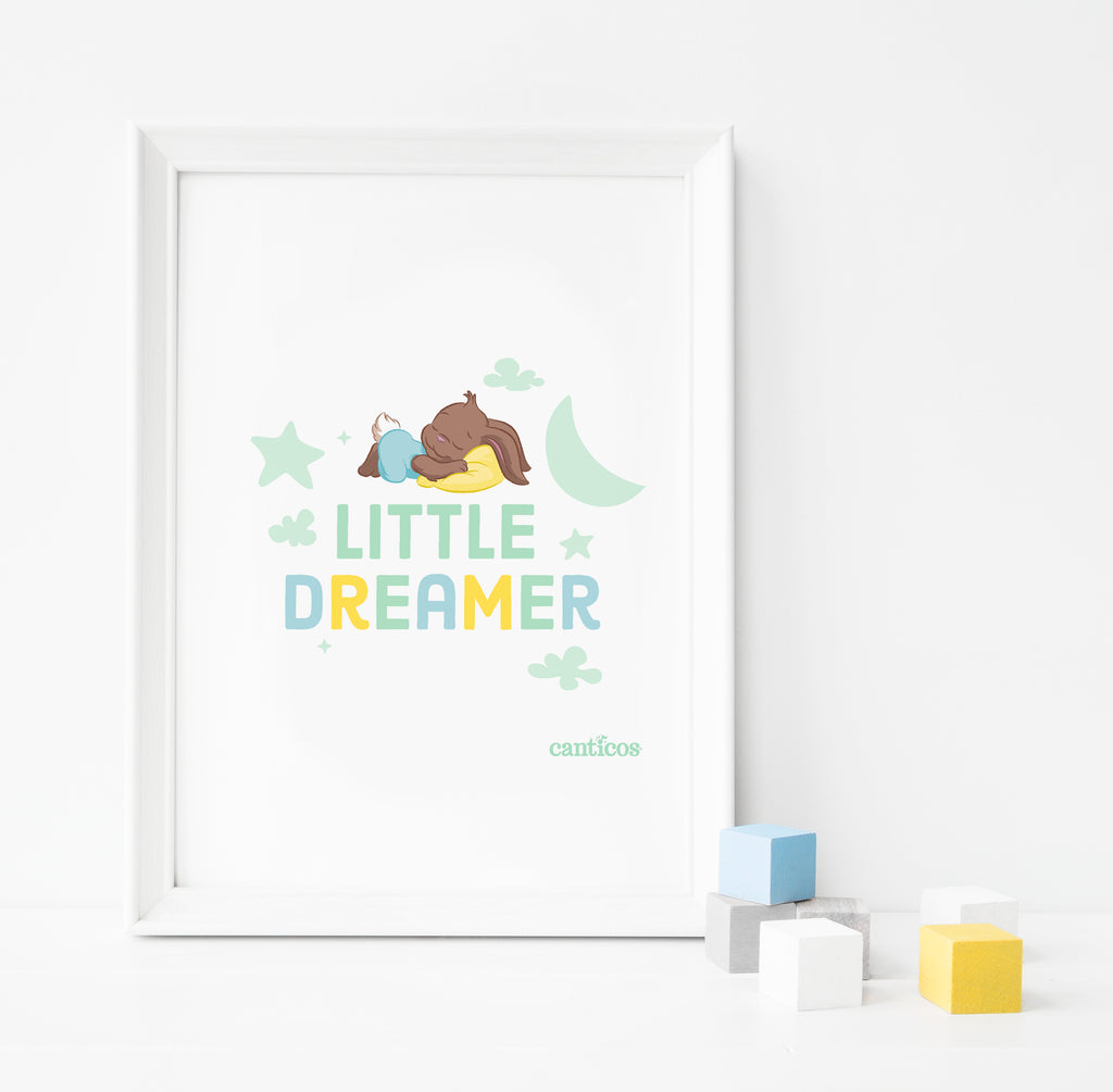 Sammy Little Dreamer Green Poster Nursery Art