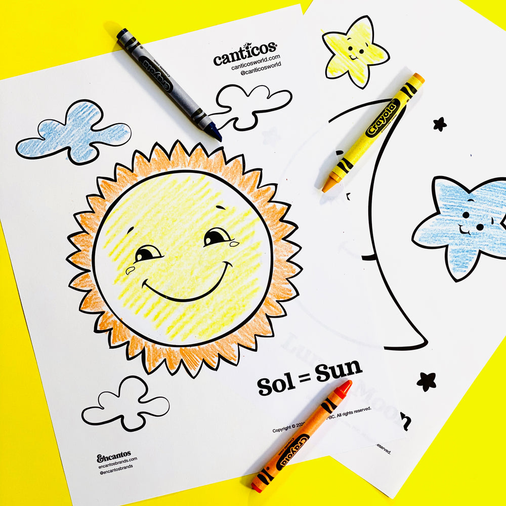 Free Canticos Sun and Moon Coloring Sheet