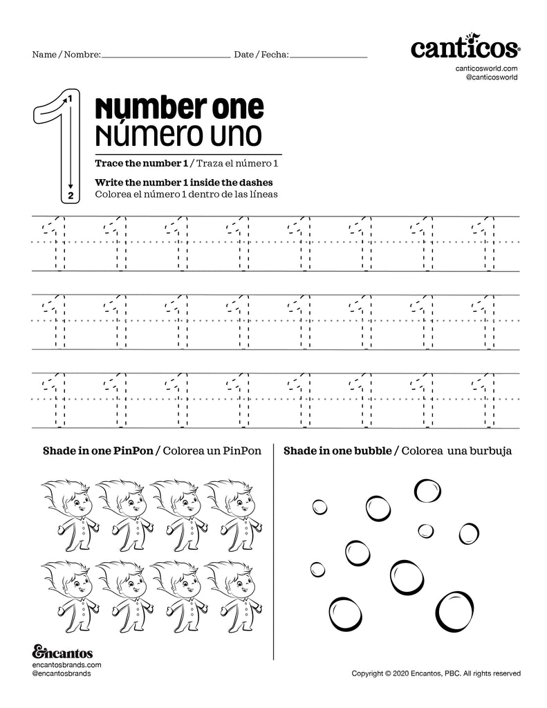 Number 1 - Free Activity Sheet