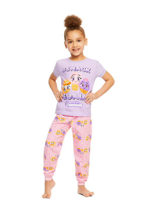 SQUISHIES Girls 2-Piece Cotton Pajama Set | Short-Sleeve Top & Jogger Pants