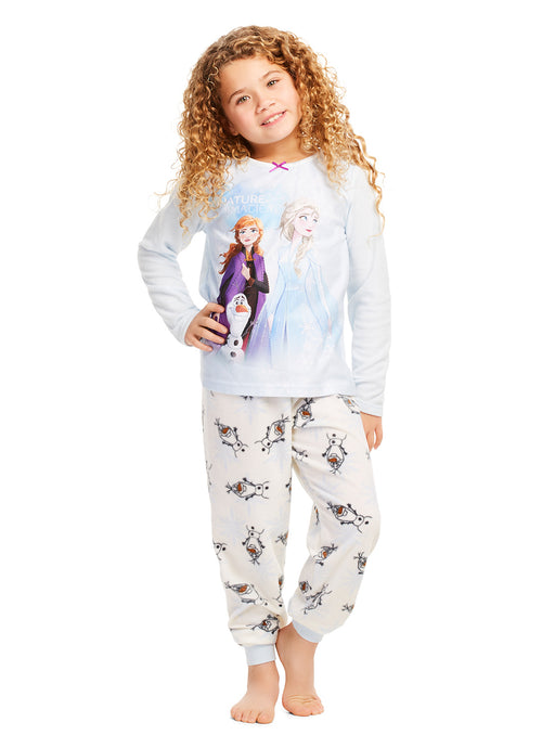 Disney Frozen 2 Pajamas - Girls PJs - Soft & Warm Kids Sleepwear - Blue