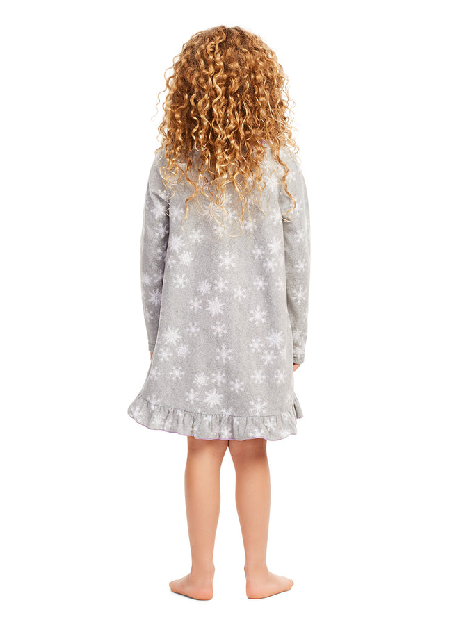 Disney Frozen 2 Nightgown - Girls PJs- Soft & Warm Kids Sleepwear - Grey