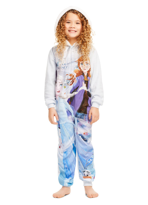 Disney Frozen 2 Girls Blanket Sleeper - Zippered Hooded Onesie