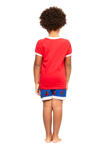 Boys 2-Piece Cotton Pajamas Set, Short-Sleeve Top and Shorts, Spiderman, by Jellifish Kids