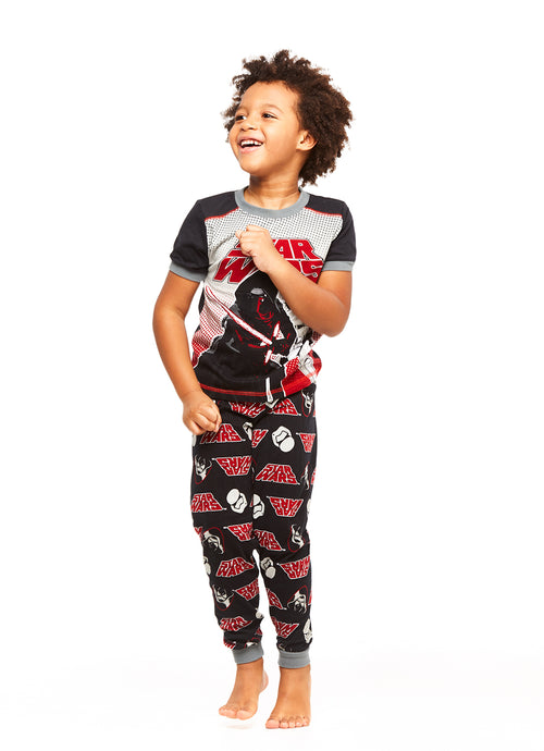 Boys 2-Piece PJ Cotton Set, Short-Sleeve & Jogger Pants (Star Wars)