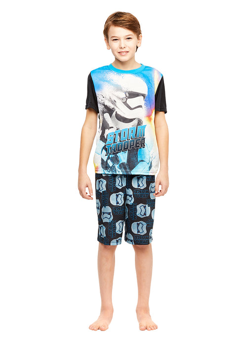 Boys 2-Piece Pajamas Set, Short-Sleeve Top and Shorts, Storm Trooper, by Jellifish Kids
