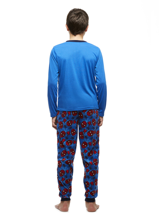 Big Boys 2-Piece Pajama Set, Long-Sleeve Jersey Top and Fleece Jogger Pants, Spider-Man, by Jellifish Kids