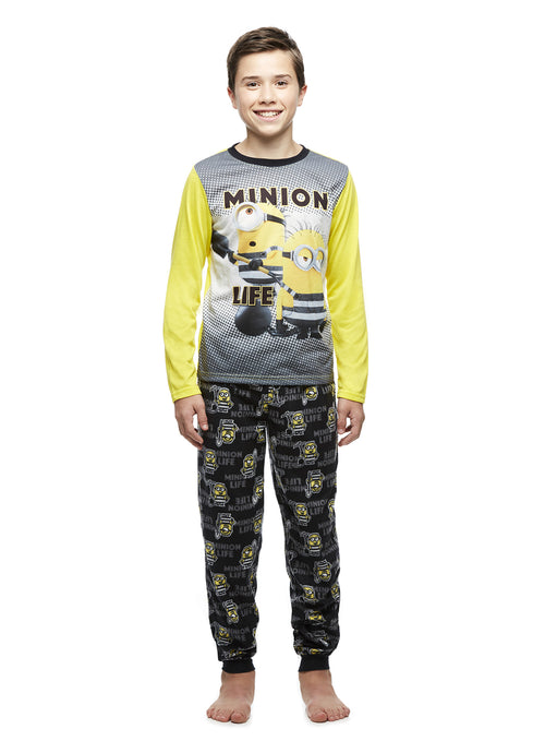 Minion Pajamas Boys 2-Piece PJ Set With Fleece Joggers